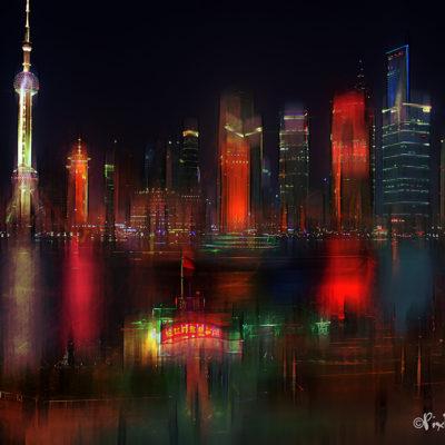 Vue nocturne de Pudong
